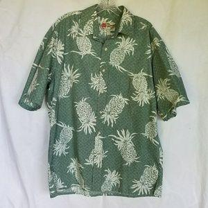 Hilo Hattie pineapple aloha shirt, made in Hawaii